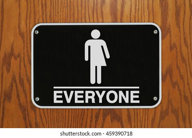 """Gender Neutral Restroom Sign (with stick figure drawing) that says, """"EVERYONE"""""""