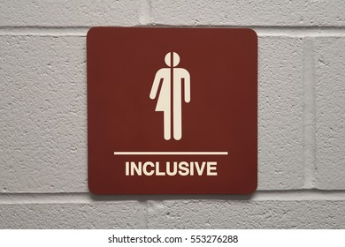 Gender neutral sign for the restroom that says, INCLUSIVE