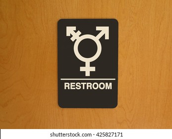 Gender Neutral Symbol on Restroom door