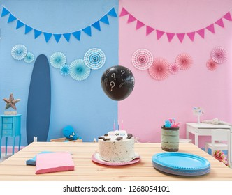 Gender party, blue and pink wall background, Boy or girl object in the wall and close up party table with cake and blue and pink plate, fork and napkin. Question mark balloon. Finding gender.