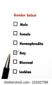 gender select choice,check gay, sex concept