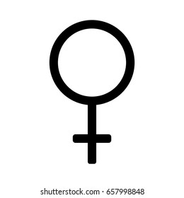 Gender sign mirror of Venus. Female monochrome symbol isolated on white background. Abstract plane mark with women sex icon. Goddess concept. Romantic silhouette. Stock illustration