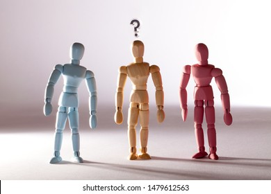Gender stereotype. Questioning sexual identity. Neutral transgender person between blue and pink masculine and feminine social standard models. Sexuality, LGBT rights and discrimination concept image.