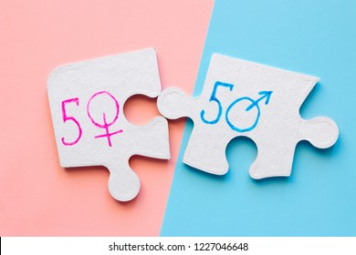 gender symbols on the puzzle concept bisexuality