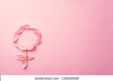 Gender Venus symbol made of beautiful flower petals on candy pink background, copy space for text