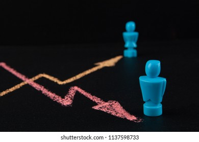Gender wage gap and equality concept  - line graph hand drawn with chalk on blackbloard with male and female figurines