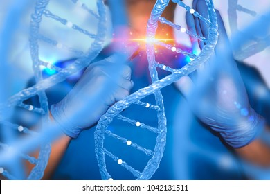 Gene editing genes therapy concept with nurse and DNA lab technician medical laboratory
