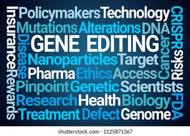 Gene Editing Word Cloud on Blue Background