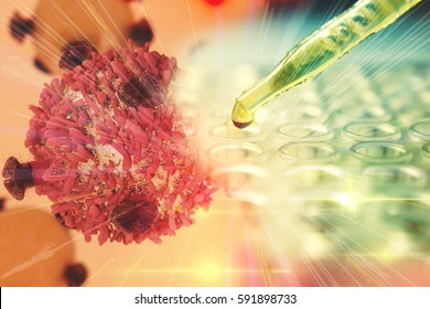 Gene Therapy for Cancer Treatment Concept Cancer therapy with T-cell and pipette