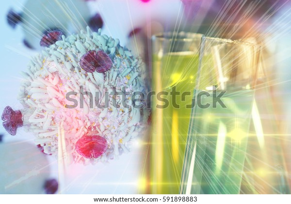Gene Therapy for Cancer Treatment Concept Cancer therapy with T-cell and colorful test tubes
