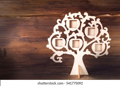 Genealogy family tree on the background of derasanner boards, vintage background