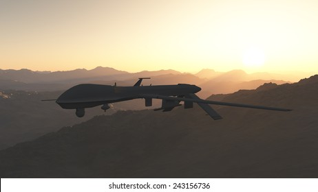 General Atomics MQ-9 Reaper drone flying above the desert.