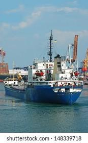 General cargo ship and port crane bridge, Odessa, Ukraine