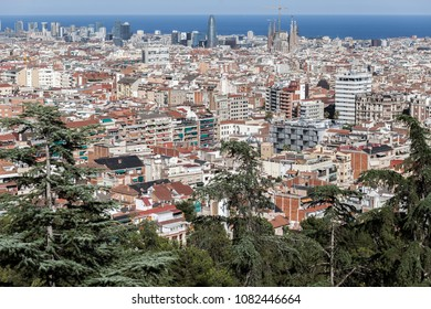 General city view from lookout gardens Turo Putxet, Barcelona.