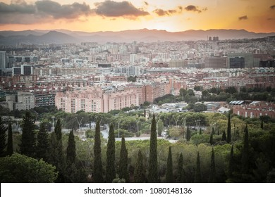 General city wiew of south area of Barcelona, from lookout of Montjuic mountain.