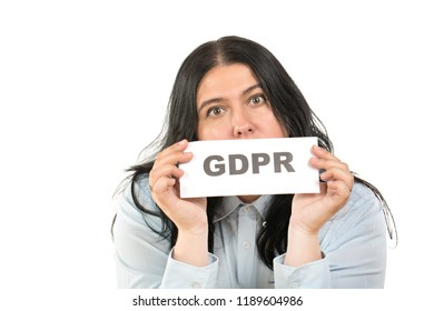 The General Data Protection Regulation concept. Portrait of young caucasian business woman with a sign contains the word GPDR. Isolated on white background