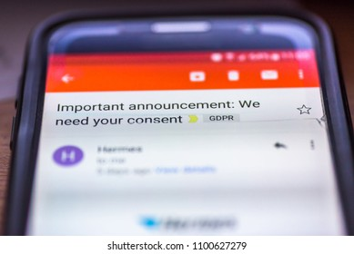 General Data Protection Regulation - GDPR - closeup smartphone email message Important Announcement We Need Your Consent.