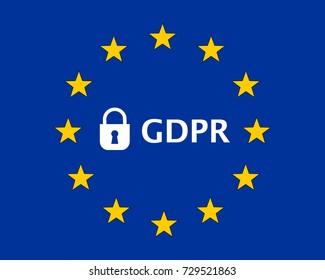 General Data Protection Regulation (GDPR) European Union (EU) Flag with Padlock