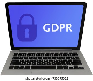 'General Data Protection Regulation' (GDPR) Laptop Computer Screen (Isolated on White Background)