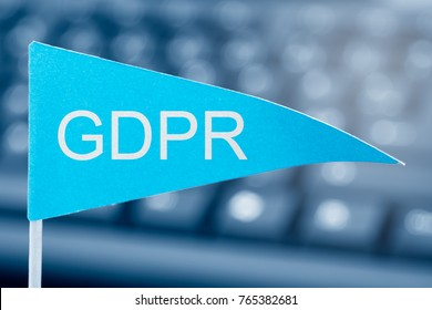 General Data Protection Regulation (GDPR) - close up of flag and keyboard in background - shallow depth of field