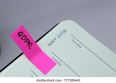 General Data Protection Regulation (GDPR) - May 2018 Diary Tab