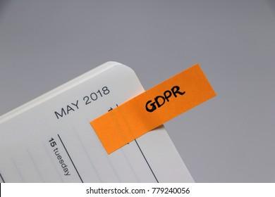 General Data Protection Regulation (GDPR) - May 2018 Diary Reminder