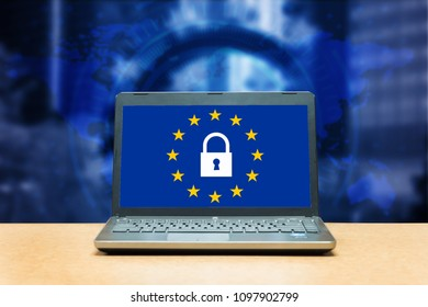 General Data Protection Regulation - laptop on a table, blue screen with GDPR