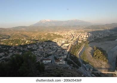 general drone view of berat city albania