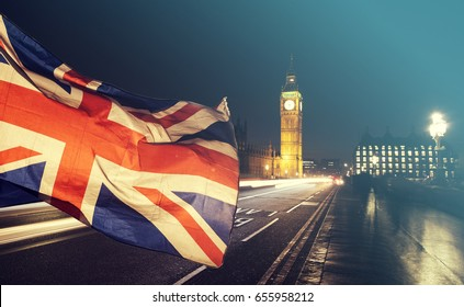 General Elections, London, UK - Union jack flag and Big Ben in the background, London, UK
