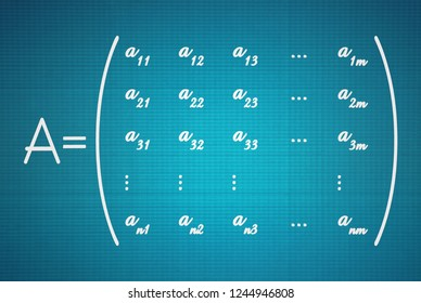 General form of a math matrix on blue background