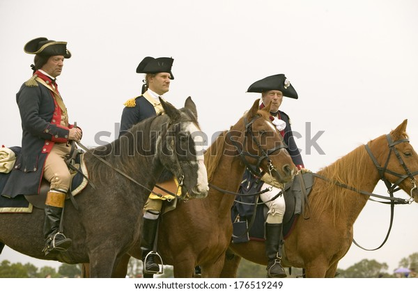 General George Washington Reviews Patriot Colonial Stock Photo (Edit