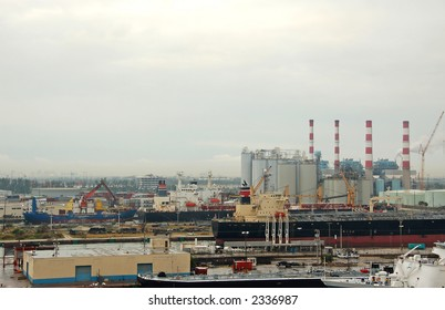 General industrial view for safety at shipping port,storage and fuel depot