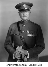 General John Pershing in uniform with medals, 1910-1920. His served as Commander of the American Expeditionary Force during WW1