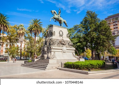 General Jose de San Martin monument on Plaza San Martin square in Cordoba, Argentina. Jose de San Martin is a hero of the Argentine War of Independence.