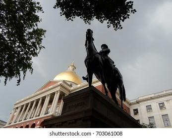 General Joseph Hooker Statue, Massachusetts State House, Beacon Hill, Boston, Massachusetts, USA