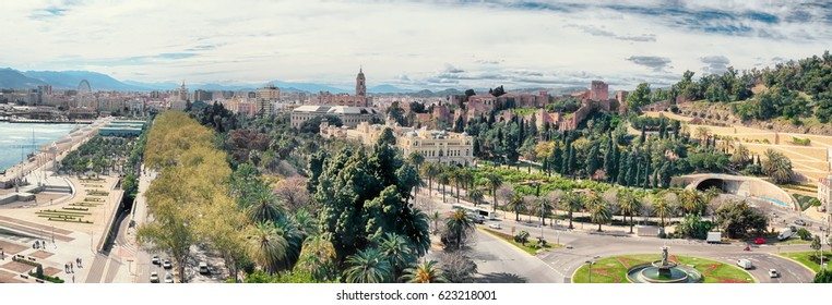 general panorama of Malaga historical buildings, port and gardens, Spain