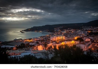 General panorama of the village of Sesimbra, Portugal, at nightfall