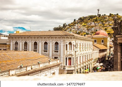 General plane of a colonial building with baroque architecture in the historic center of Quito Ecuador