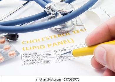 General practitioner checks cholesterol levels in patient test results on blood lipids. Statin pills, stethoscope, cholesterol test and hand of doctor, pointing to increasing its level in concept