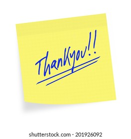 General purpose thankyou on yellow sticky note. White background.