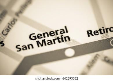 General San Martin Station. Buenos Aires Metro map.
