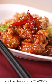 general tso's chicken with spicy chili peppers