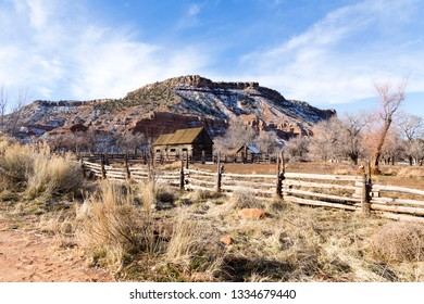 General view of abandoned wood houses in Grafton, a 19th Century ghost town near Rockville and Zion National Park, Washington county, Utah