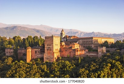 General view of the Alhambra from Albaicin in Granada, Andalusia, Spain