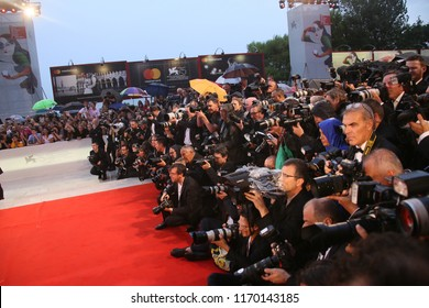 A general view of atmosphere  walks the red carpet ahead of the 'A Star Is Born' screening during the 75th Venice Film Festival at Sala Grande on August 31, 2018 in Venice, Italy.