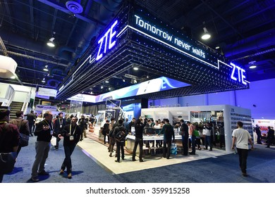 General view of attendees at ZTE Corporation stand at the 2016 International Consumer Electronics Show at the Las Vegas Convention Center January 6, 2016 in Las Vegas, Nevada