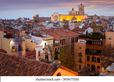 General view of  Catalan city with Cathedral in evening time. Tarragona, Spain