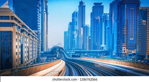 General view of Dubai Marina. Line of the city skyline.