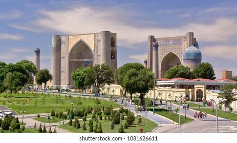 General view of an esplanade with the Registan and Bibi Khanum mosque in Samarkand, Uzbekistan