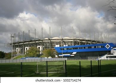 general view of football stadium Volksparkstadion, Hamburg, Germany, 10 22 2017